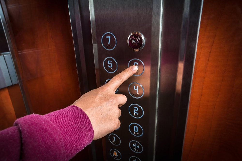 Elevator buttons can be high germ transfer areas